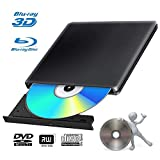 Blu Ray 3D Grabadora DVD Reproductor Externo Portatil USB 3.0 Grabadora de Quemador Regrabadora Lector de CD DVD Disco para Windows7/8/10,Linux,Mac Os, PC