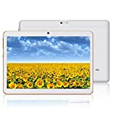 Android-Tablet mit 10,0-Zoll-HD-IPS-Bildschirm, Android 9.0 Tablet mit 2 SIM-Kartensteckplätzen, Quad-Core, 1,3 GHz, 4 GB + 64 GB, Bluetooth, WLAN, GPS, Dual-Kamera (Blanco)